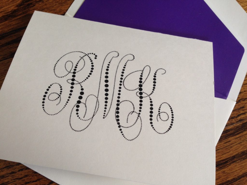 Pearl String Monogram Note in black raised ink with purple envelope lining from EmbossedGraphics.com
