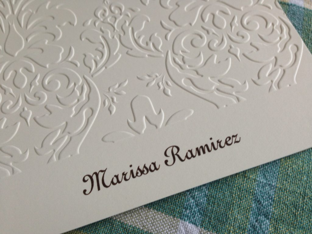 Damask Note from Embossed Graphics features a deeply embossed design and a raised-ink personalization.