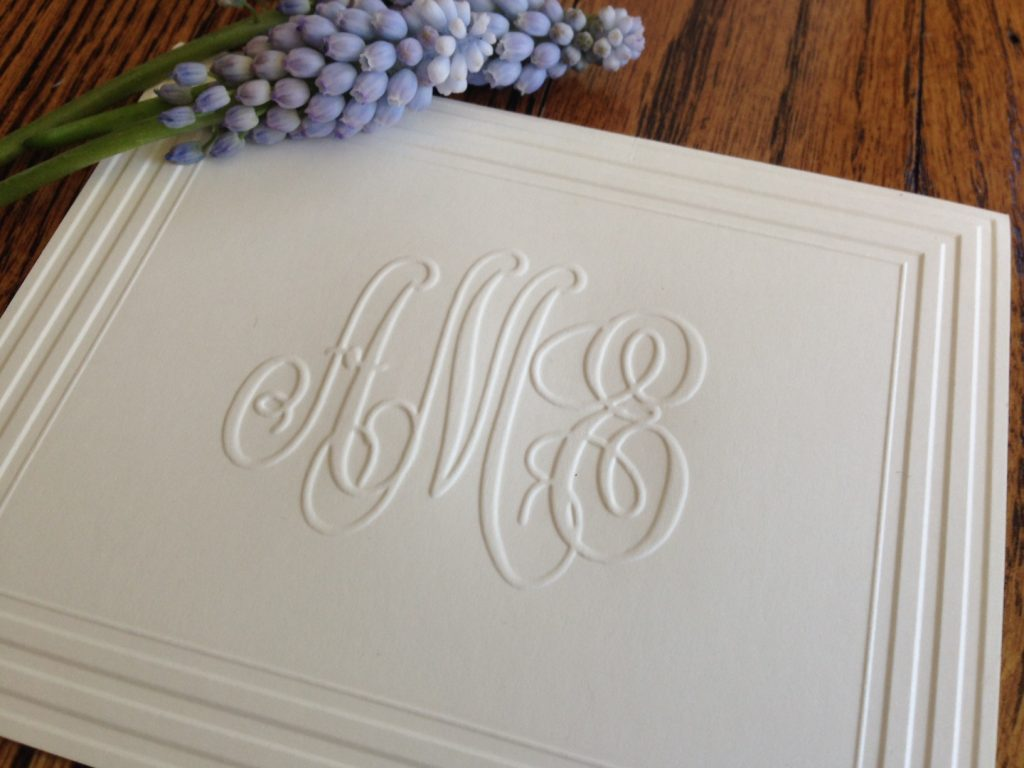 Classic Frame Monogram Note from features deep and crisp embossing