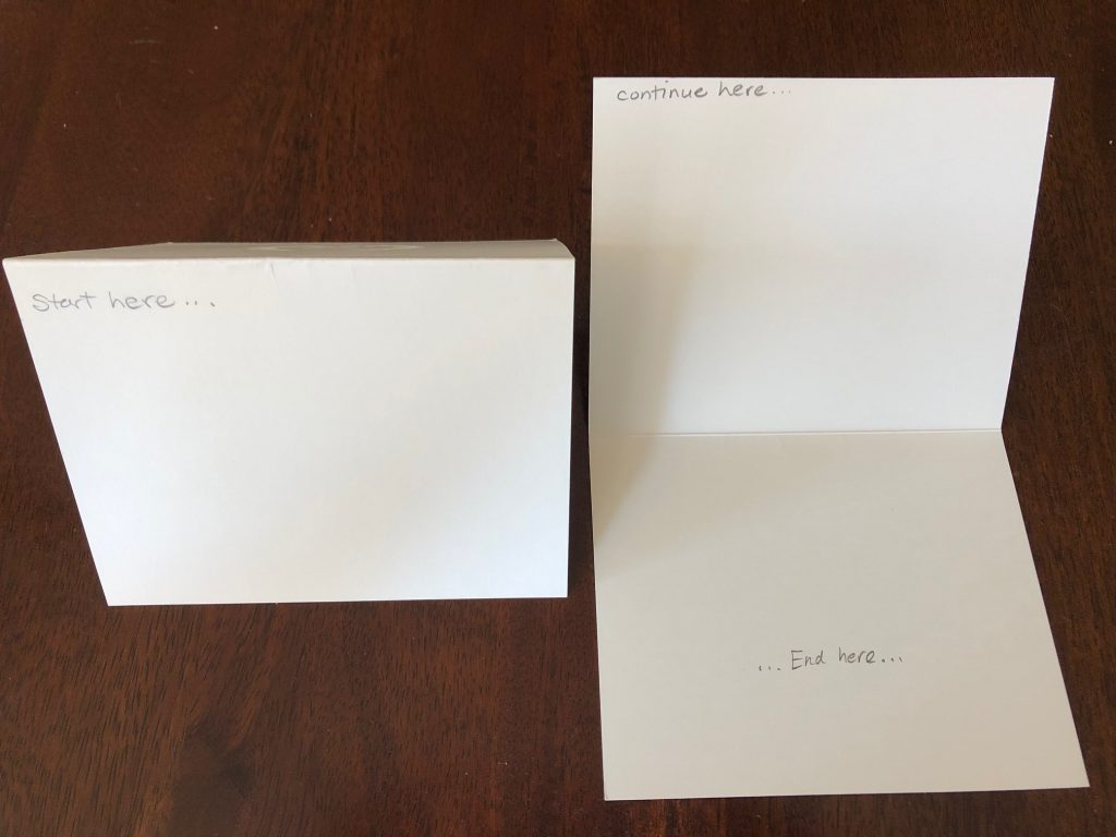 How to write on a blank foldover note