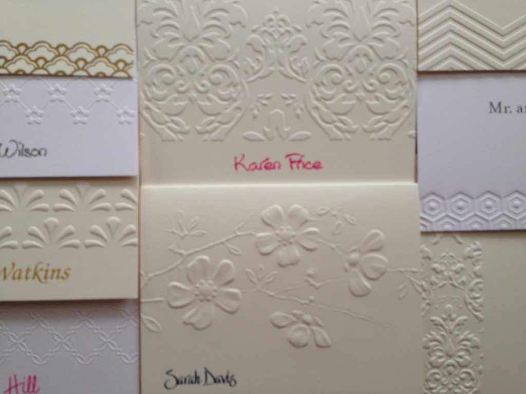 A selection of embossed folded notes from Embossed Graphics