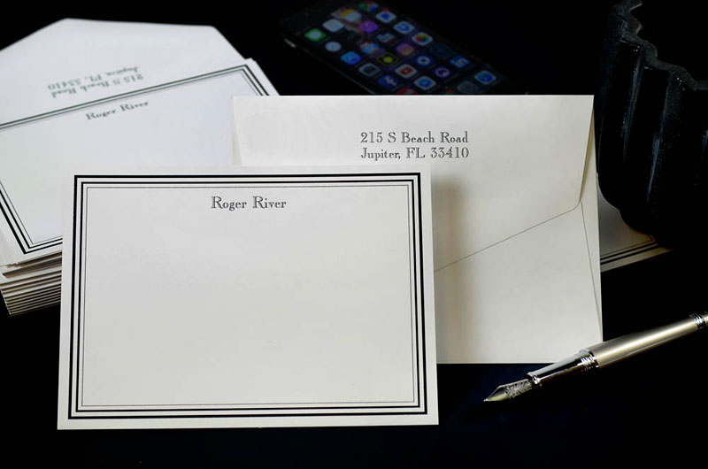 The color of your stationery paper should match the color of your envelopes