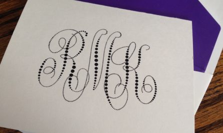 Pearl String Monogram Note by Embossed Graphics