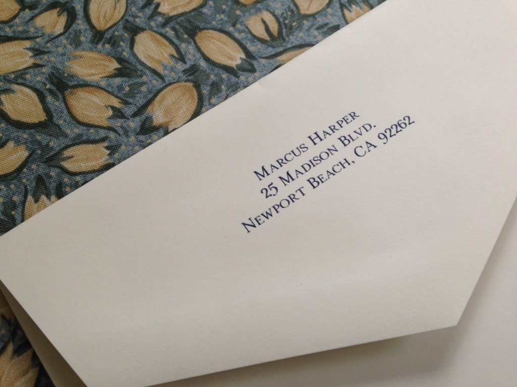 Add a return address to your stationery envelopes