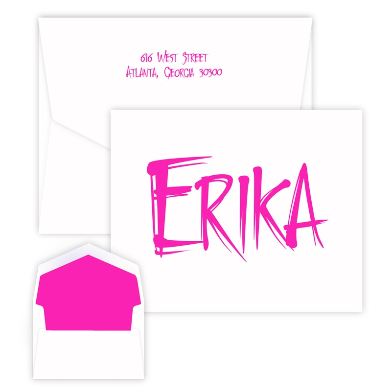 Airbrush Note personalized stationery for kids from Embossed Graphics.