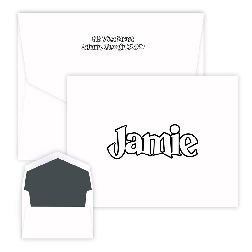 Color Me Oversized Note personalized stationery for children from Embossed Graphics