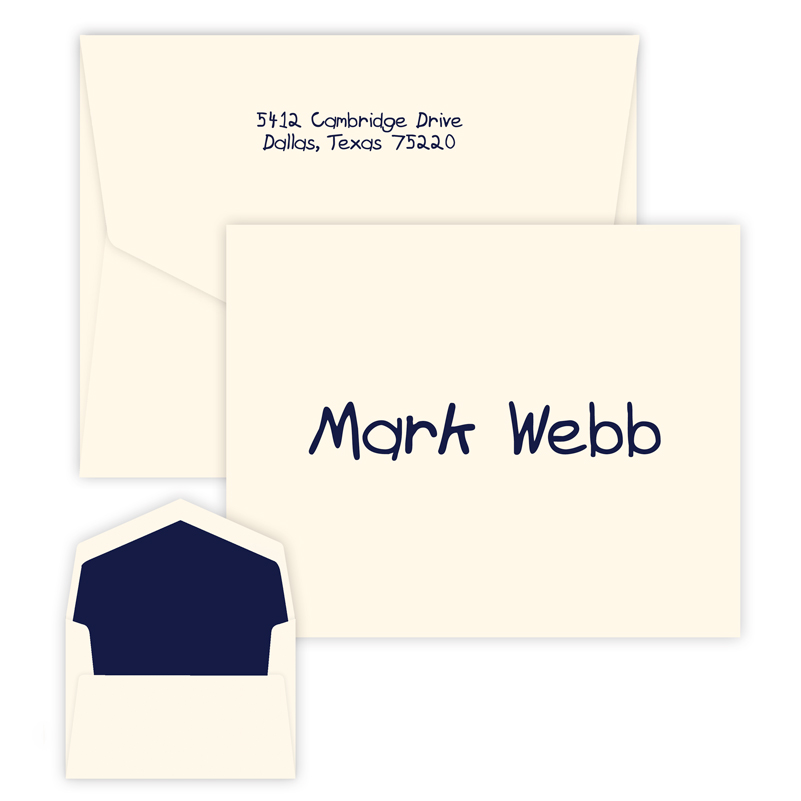Squiggle Note personalized stationery for kids from Embossed Graphics
