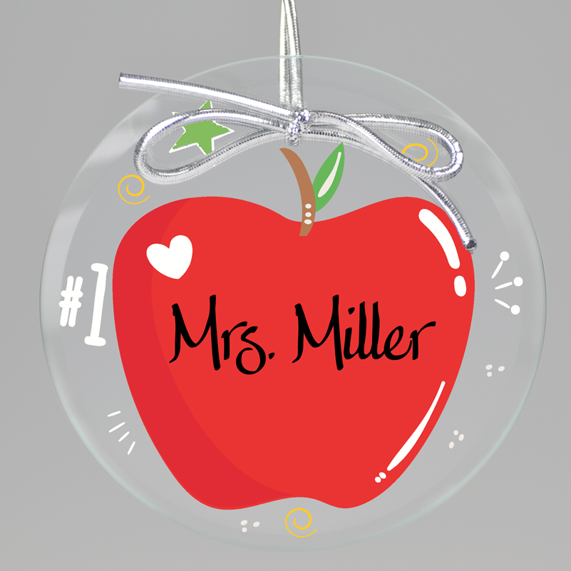 Apple A Day Teacher Ornament from Embossed Graphics