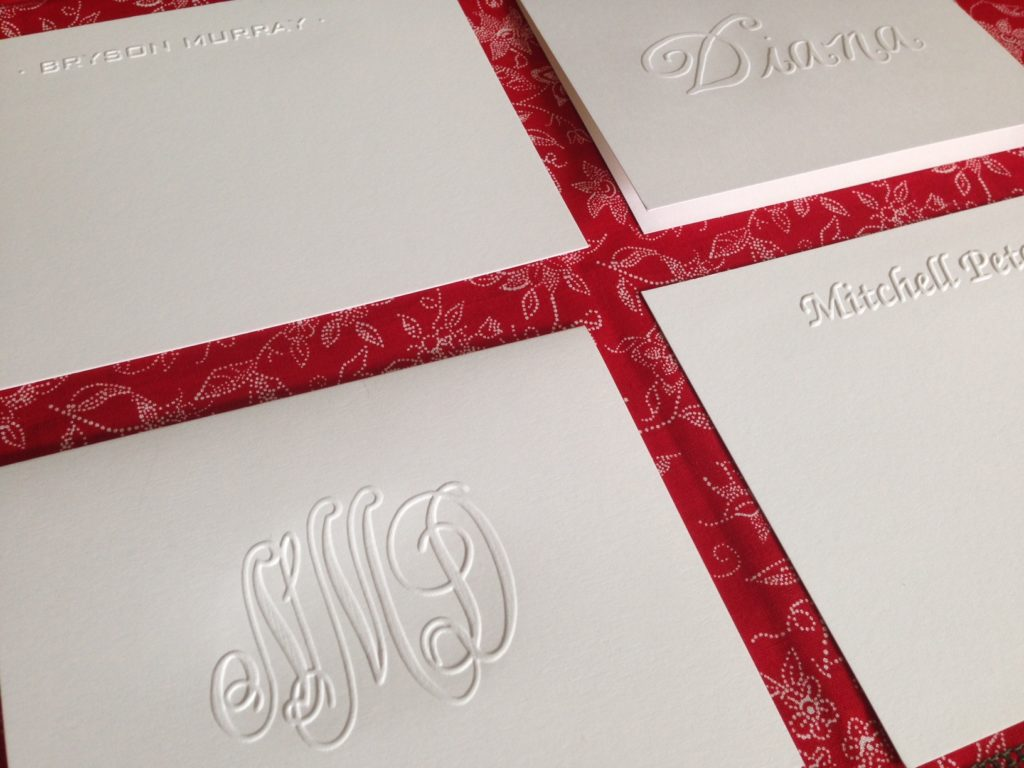 Embossed stationery from Embossed Graphics