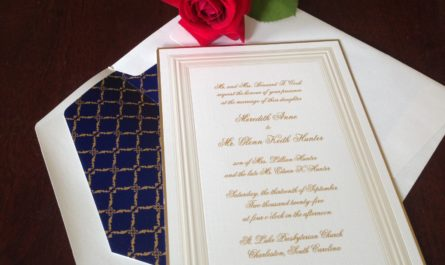 Silver Leaf Wedding Invitation by Embossed Graphics