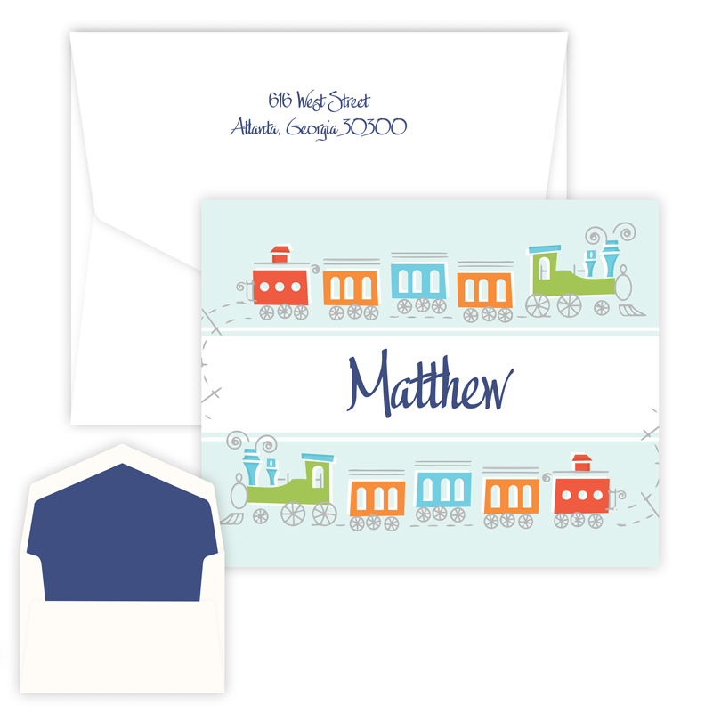 Choo Choo Train Folded Note from Embossed Graphics is perfect for baby shower thank you notes.