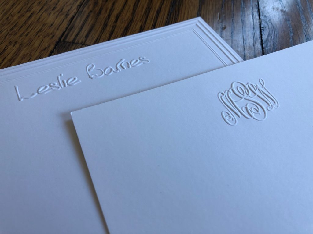 Embossed stationery is timeless, like these two pieces. An embossed name or monogram adds luxury to your stationery.