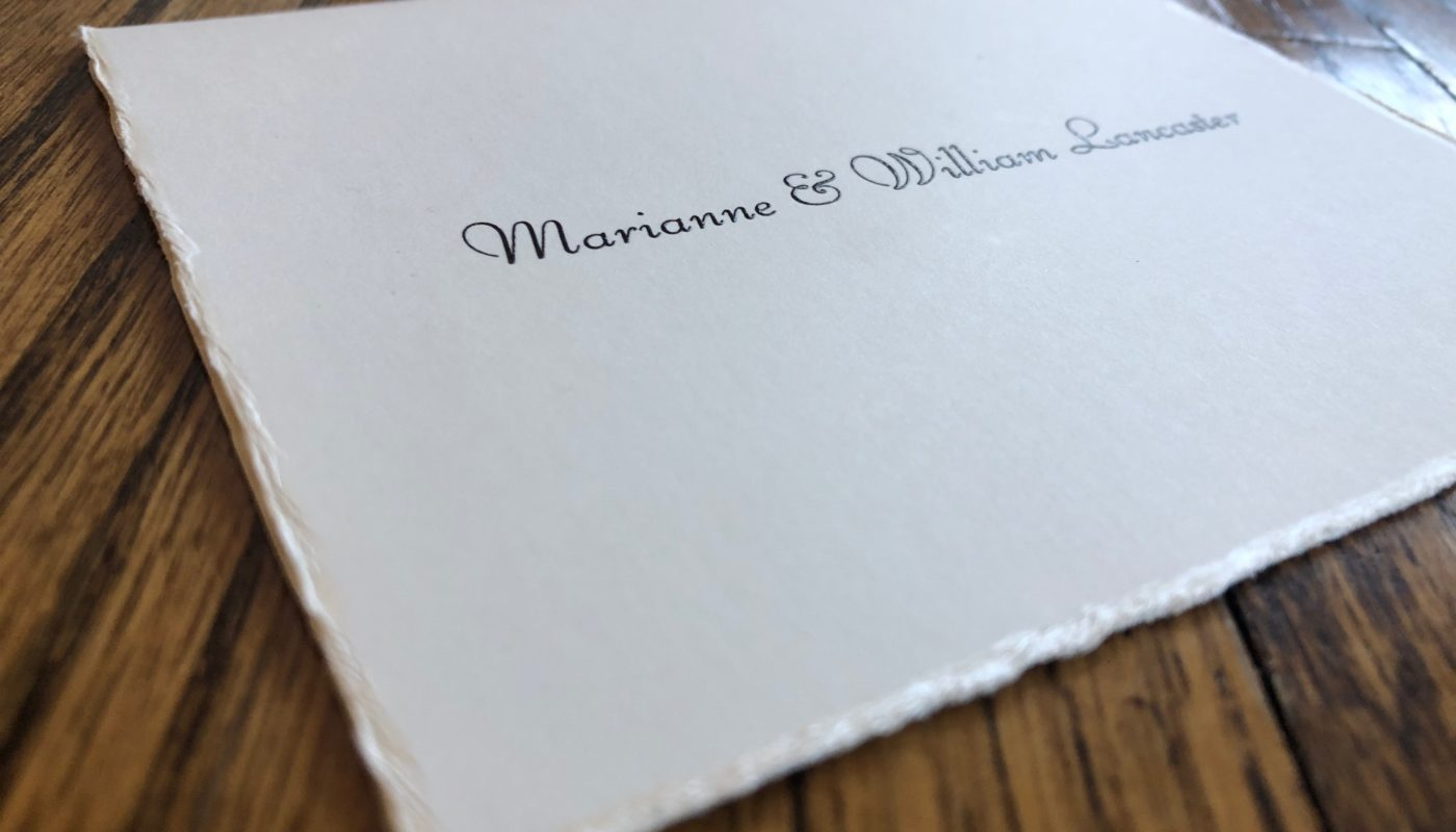 A luxury folded note with a deckle edge from Embossed Graphics