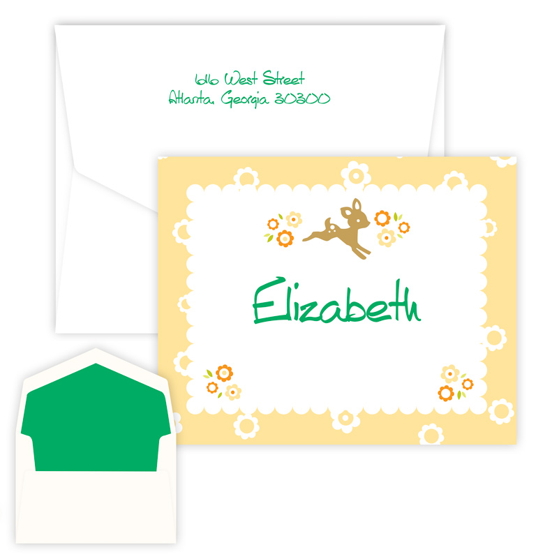Baby Dear Folded Note from Embossed Graphics is perfect for baby shower thank you notes