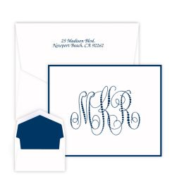 Pearl String Monogram Note - Raised Ink