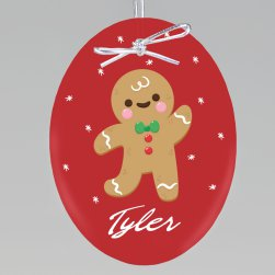 Gingerbread Man Printed Ornament - Oval