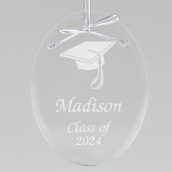 Graduation Cap Keepsake Ornament - Oval