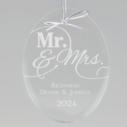 Mr and Mrs Keepsake Ornament - Oval