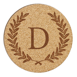 Wheat Leaf Initial Cork Coaster