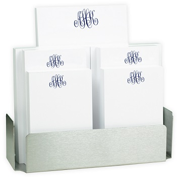Delavan Monogram 7-Tablet Set - White with Steel holder