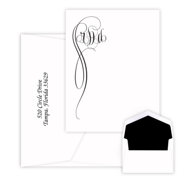 Fiona Monogram Card - Raised Ink