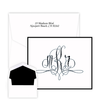 Pearls of Paris Monogram Note - Raised Ink