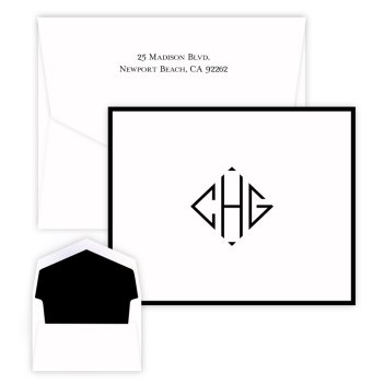 Diamond Monogram Note - Raised Ink