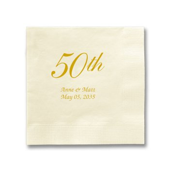 50th Wedding Anniversary Napkin - Foil-Pressed