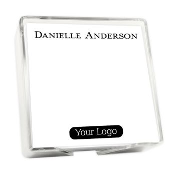 Your Logo Memo Square - White with holder