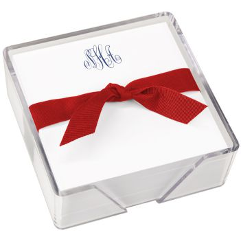 Delavan Monogram Memo Square - White with holder