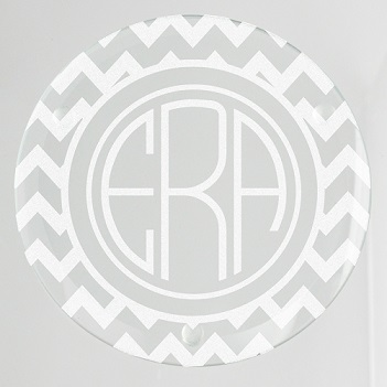 Bronson Chevron Monogram Glass Coaster
