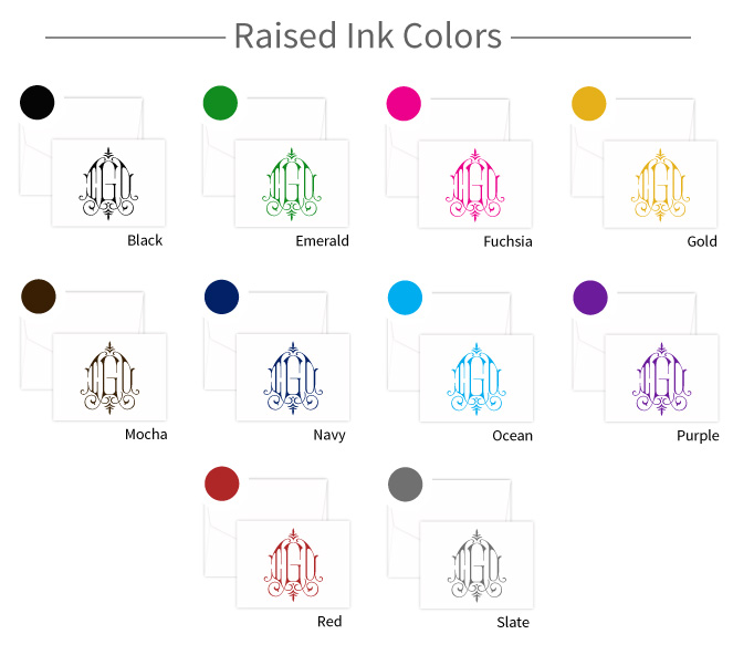 raised-print Ink Colors